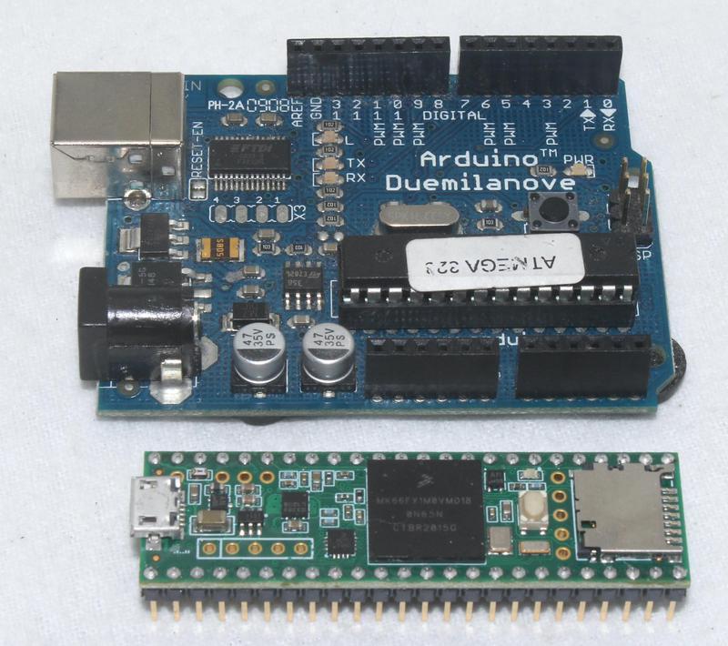 An Arduino (top) and Teensy 3.6 (bottom).