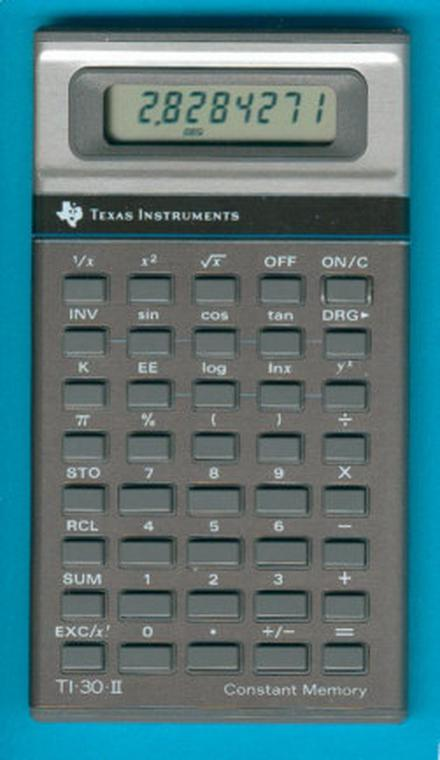 The TI-30-II calculator used the TP0320 processor. Photo courtesy of Datamath Calculator Museum.