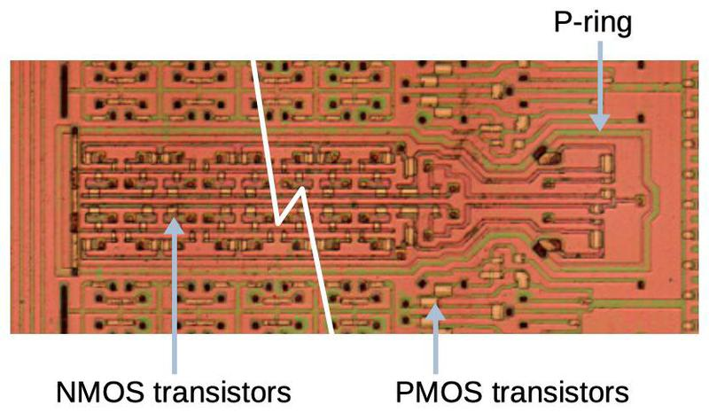 "The NMOS transistors are located in a P-type ""tub"" surrounded by a ring of P-type silicon."
