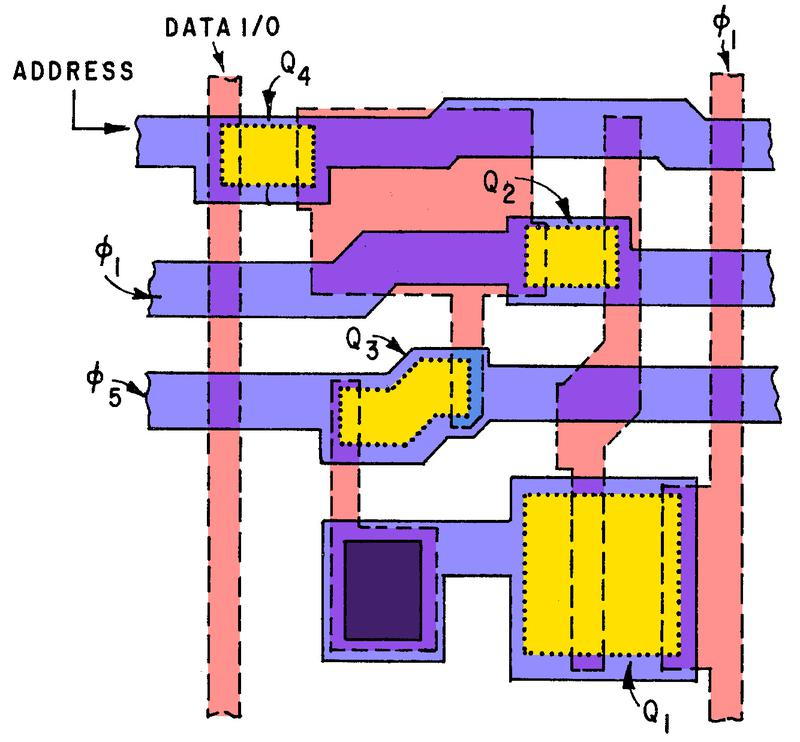 Diagram of a dynamic RAM cell, based on the Random Access Memory Cell Patent.