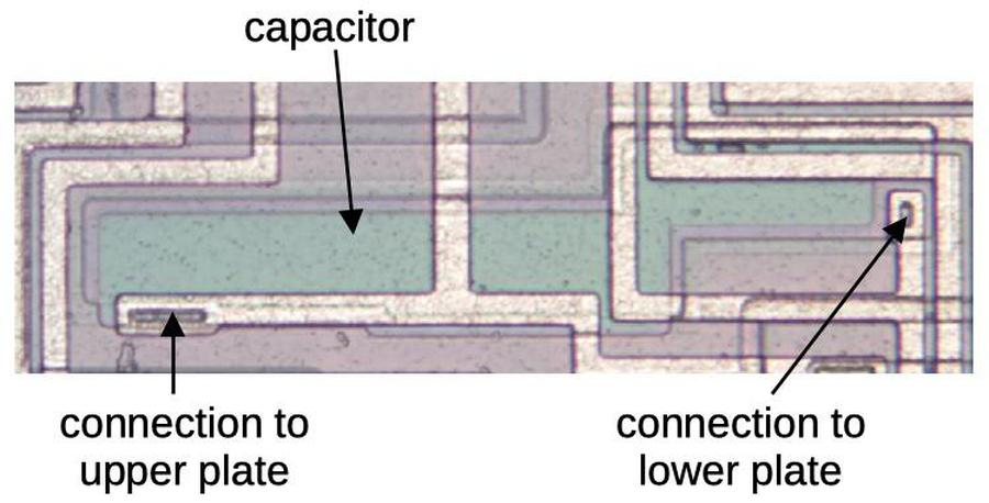 A capacitor on the die.