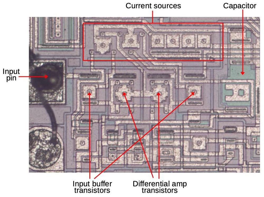The error feedback amplifier as it appears on the die with key components indicated.