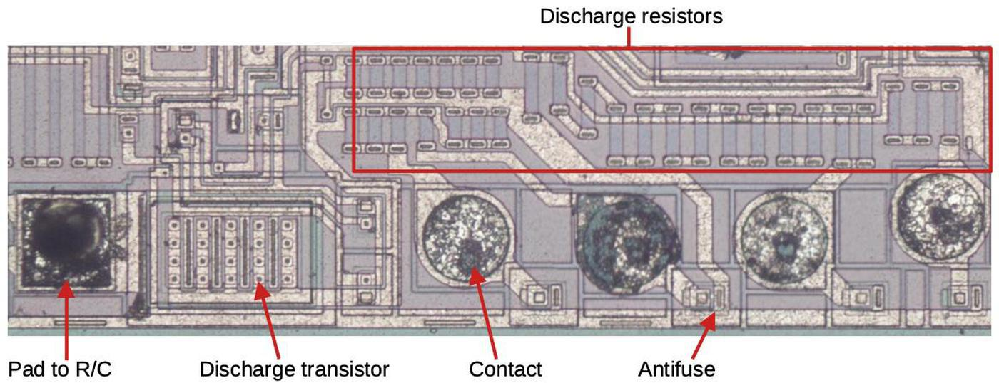 The discharge circuitry of the oscillator. The antifuses adjust resistance in the oscillator.