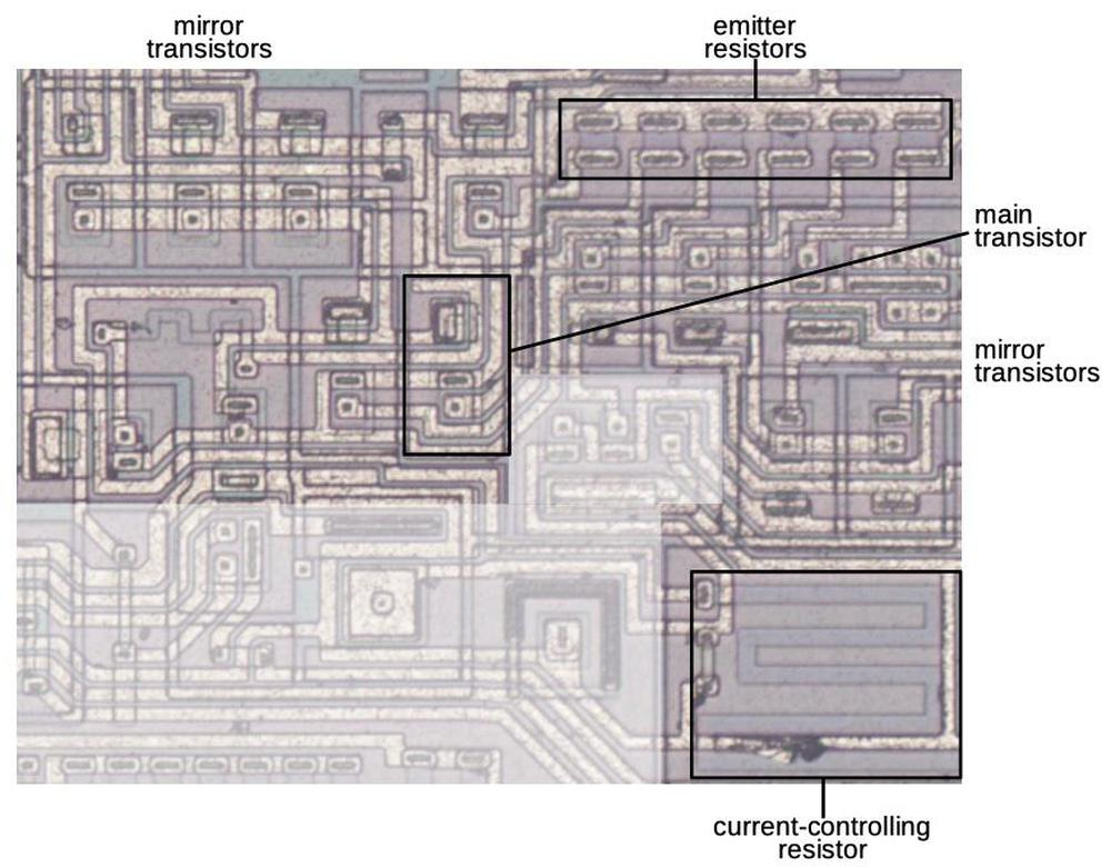 The current-mirror circuitry on the die.