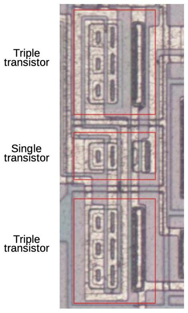 The transistors at the heart of the bandgap reference.