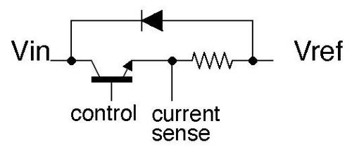 Schematic of the Vref output circuit. The transistor limits the voltage.