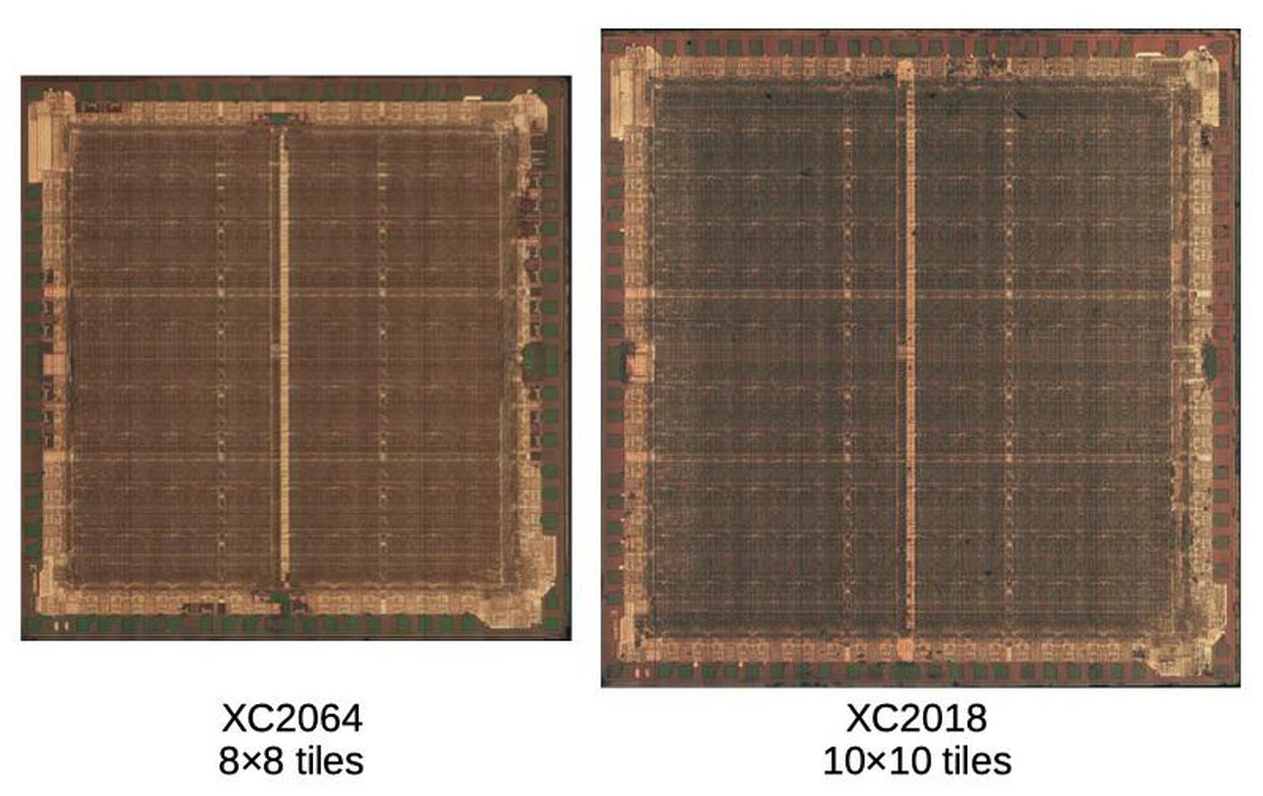 Comparison of the XC2064 and XC2018 dies. The images are scaled so the tile sizes match; I don't know how the physical sizes of the dies compare. Die photos from siliconpr0n.