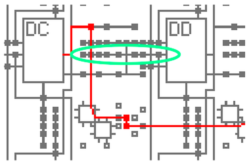 Input selection. The eight nodes circled in green are potential inputs to DD; one of them can be selected.