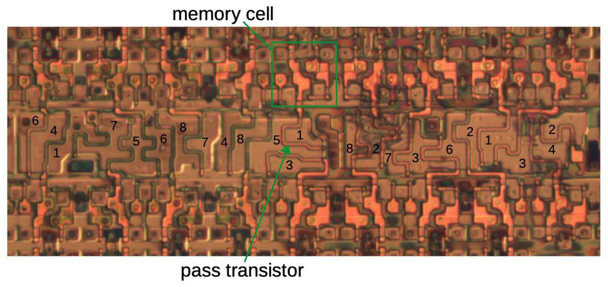 Implementation of an 8-pin switch matrix. The silicon regions are labeled with the corresponding pin numbers. The metal layers (which connect the pins to the transistors) were removed for this photo. Based on die photo from siliconpr0n.