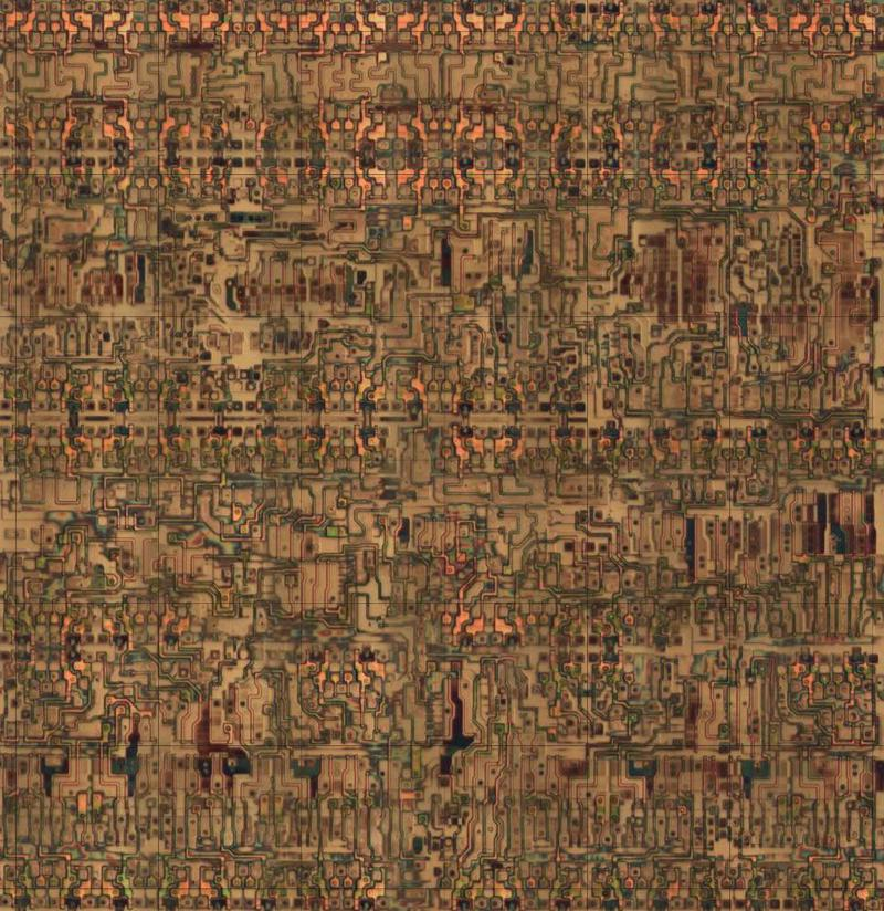 Die photo closeup showing the circuitry for one of the 64 tiles in the XC2064 FPGA. The metal layers have been removed, exposing the silicon and polysilicon transistors underneath. Click for a larger image. From siliconpr0n.