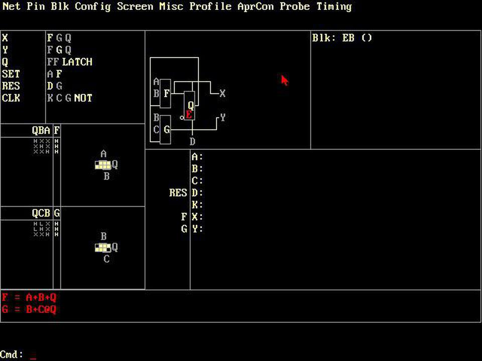 Screenshot of XACT. The two lookup tables F and G implement the equations at the bottom of the screen, with Karnaugh map shown above.