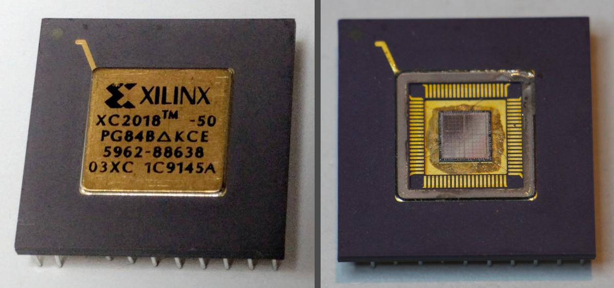 The Xilinx XC2018 FPGA. On the right, the lid has been removed, showing the silicon die. The tile pattern is faintly visible on the die.