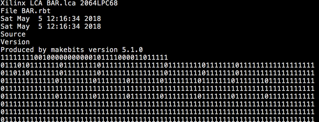 Part of the bitstream generated by XACT.